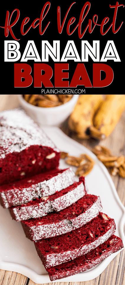 Red Velvet Banana Bread: ¡solo 5 ingredientes! ¡Tan fácil y tan delicioso! Mezcla de pastel de terciopelo rojo, plátanos, huevos, aceite y nueces. ¡Esto es lo mejor! La receta hace dos panes. Uno para guardar y otro para regalar. Desayuno perfecto para el día de San Valentín!