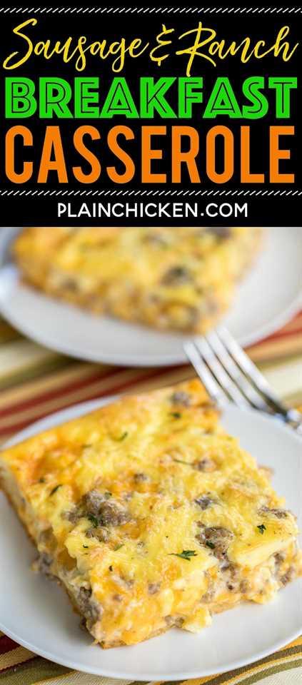 Receta de cazuela de salchichas y desayuno rancho - ¡LOCO, bueno! Rollos de media luna cubiertos con huevos, leche, queso cheddar, salchichas y rancho. Listo para comer en unos 30 minutos. Genial para comidas compartidas, brunch, desayuno, almuerzo, cena y puertas traseras. ¡Todo el mundo DISFRUTA de esta receta fácil de cazuela de desayuno! #breakfastrecipe #breakfastcasserole #sausagerecipe #casserole #casserolerecipe