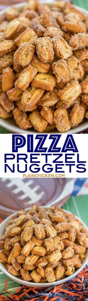 Nuggets de pretzel de pizza: ¡solo 4 ingredientes! Sabe a pizza !! Ideal para chupar rueda y fiestas. Puede avanzar y almacenar en un recipiente hermético para más tarde. Se mantendrá durante varias semanas. ¡A todos les ENCANTA esta receta fácil de aperitivo!