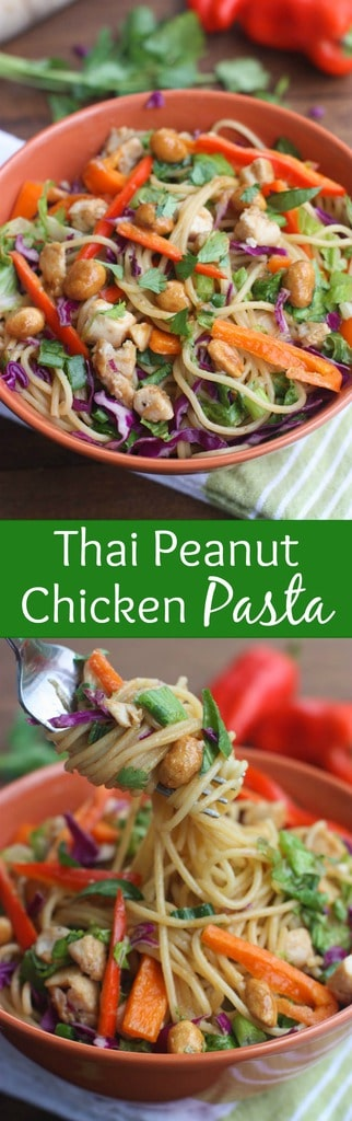 Better Than Takeaway Thai Peanut Chicken Pasta - The perfect easy dinner recipe that's bursting with flavor and uses simple pantry ingredients with sauteed vegetables, chicken, and a creamy Thai peanut sauce. The | Tastes better from scratch