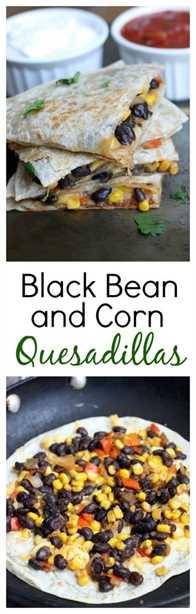 Quesadillas de frijoles negros y maíz