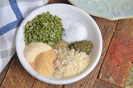 Ingredientes para la mezcla de aderezo ranch