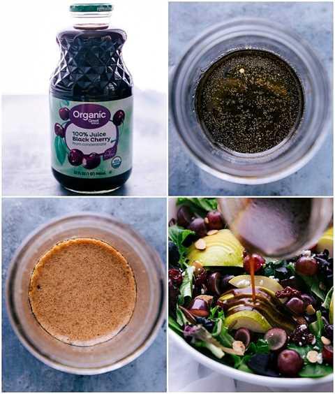 Procese tomas que muestren cómo preparar el aderezo balsámico de cereza y qué ingredientes usar. Una foto que muestra el aderezo en una ensalada