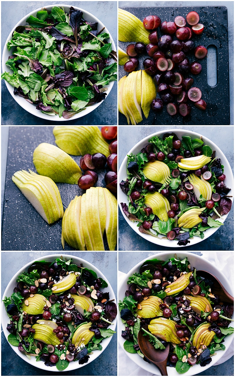 Procese las tomas de la ensalada que se está preparando: uvas y peras frescas picadas y puestas sobre verduras frescas