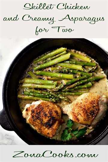 """Receta de muslos de pollo sartén y espárragos cremosos para dos """"srcset ="""" https://cdn1.zonacooks.com/wp-content/uploads/2019/02/Skillet-Chicken-Thighs-and-Creamy-Asparagus-Recipe-for-Two -9.jpg 600w, https://cdn1.zonacooks.com/wp-content/uploads/2019/02/Skillet-Chicken-Thighs-and-Creamy-Asparagus-Recipe-for-Two-9-333x500.jpg 333w """"tamaños ="""" (ancho máximo: 600 px) 100vw, 600 px"""