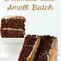Dos rebanadas de pastel de chocolate con caramelo salado, lote pequeño