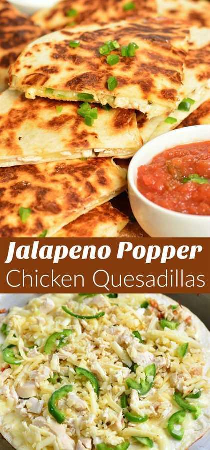 Las Quesadillas de Pollo Jalapeño Popper se preparan fácilmente con solo 4 ingredientes y en 30 minutos. Esta receta de Quesadilla está repleta de queso derretido, pollo rostizado tierno y jalapeños picantes, todos rellenos en una tortilla de harina crujiente. # pollo # aperitivo # merienda #quesadillas