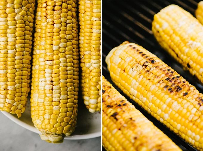 Izquierda: tres mazorcas de maíz dulce con aceite de oliva y pimentón. Derecha: maíz dulce carbonizado en una parrilla de carbón.