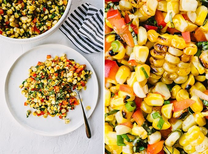 Izquierda: un plato blanco con una guarnición de ensalada de maíz dulce. Derecha: una imagen detallada de ensalada de maíz a la parrilla.