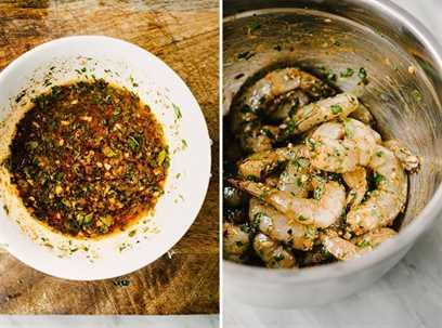Una doble imagen. A la izquierda, un tazón blanco con relleno de adobo para camarones paleo picantes. A la derecha, camarones en un tazón mezclado con la marinada.
