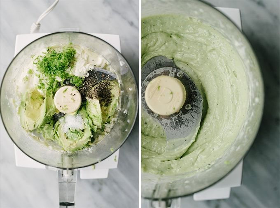 Procese tomas que muestren cómo hacer alioli de aguacate. A la derecha, aguacate, mayonesa de paleo, ralladura de lima y condimento en el tazón de un procesador de alimentos. A la derecha, alioli de aguacate suave y cremoso listo para servir.