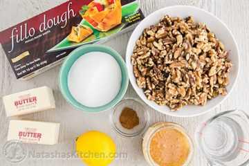 Ingredientes de la receta de Baklava