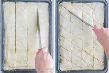 Cómo cortar la receta de Baklava