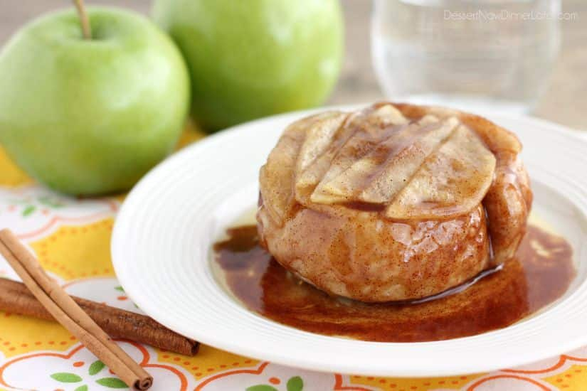 This one-serving upside-down cinnamon apple roll cooks in 2 minutes in the microwave! The perfect fall dessert for one!