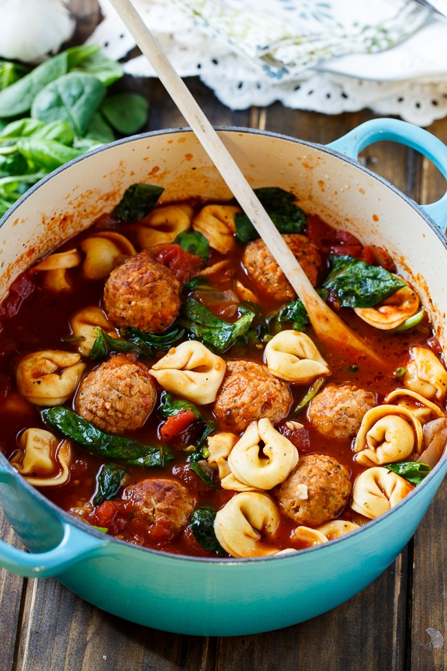 Meatball and tortellini soup