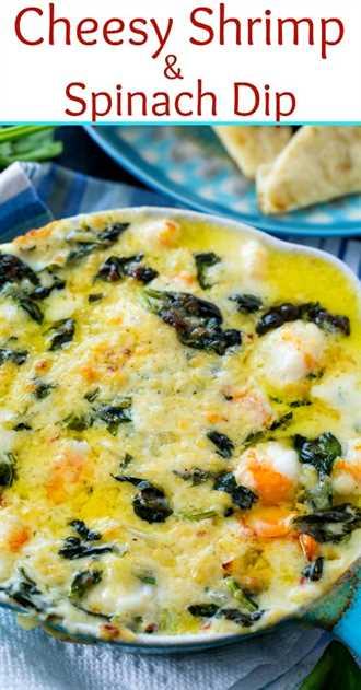 Dip de camarones y espinacas con queso