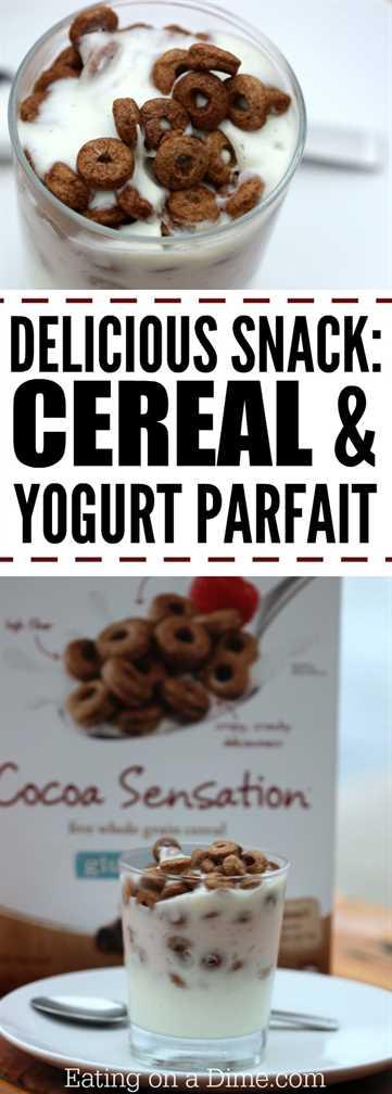 Prueba esta deliciosa receta de parfait de cereales y yogurt. Te va a encantar. Idea de desayuno delicioso o idea de merienda fácil.