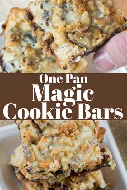 One Pan Magic Cookie Bars son capas de chocolate, caramelo, coco y nueces y son el postre más fácil de hacer. #magicbars # 7layercookies