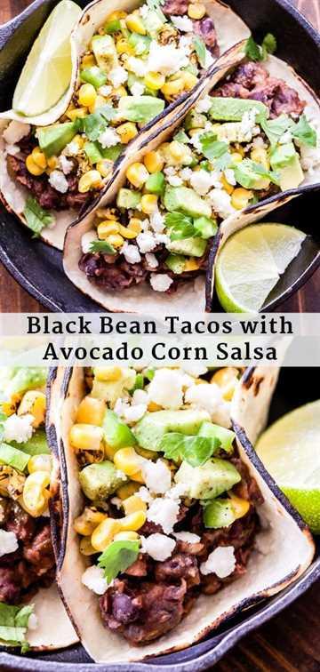 Tacos de frijoles negros con salsa de aguacate y maíz Collage de Pinterest