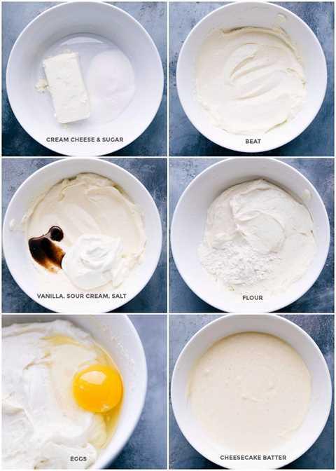 Las imágenes de la tarta de queso se hacen mejor desde cero mostrando todos los ingredientes que se agregan y luego se mezclan