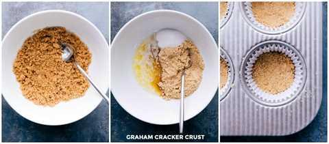 Imágenes de arriba de la corteza de la galleta Graham que se está haciendo y luego se colocan en los revestimientos para cupcakes