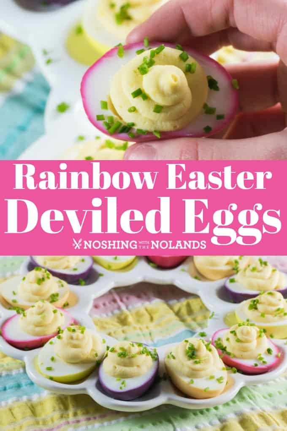 Rainbow Easter Deviled Eggs pin para Pinterest