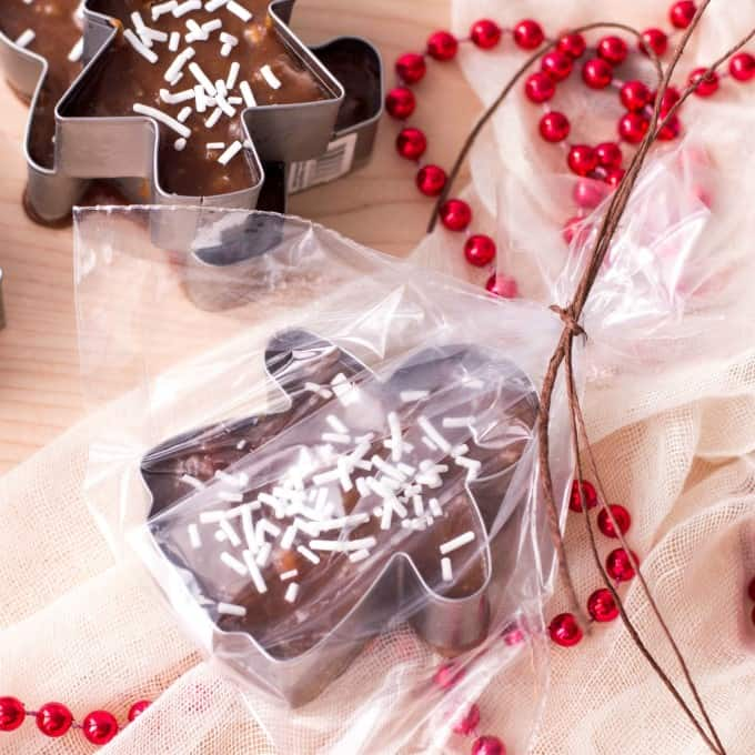 Cookie Cutter Christmas Fudge deformado en violonchelo que se establecen.
