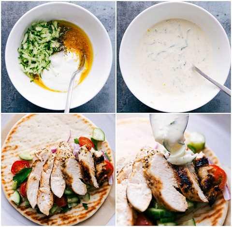 Procese tomas: imágenes de la salsa tzatziki que se está haciendo y luego se vierte sobre el plato