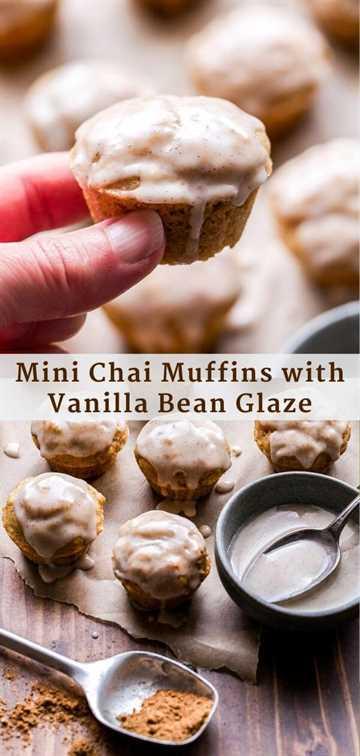 Mini Chai Muffins con Vanilla Bean Glaze Pinterest Collage.
