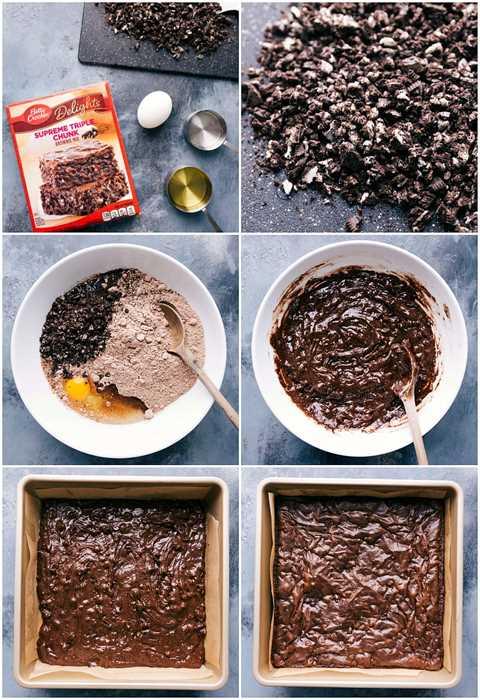 Procese tomas: imágenes que muestran la receta de la mezcla de caja que se está haciendo y las Oreos que se agregan a la masa de brownie y la masa se coloca en una sartén y se hornea