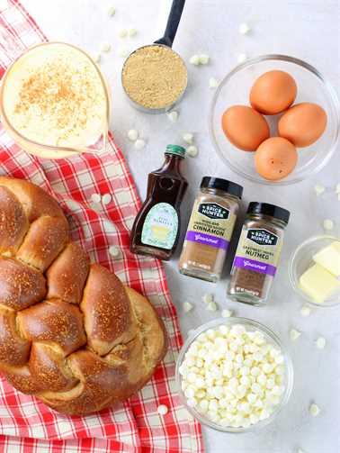 Ingredientes de budín de pan
