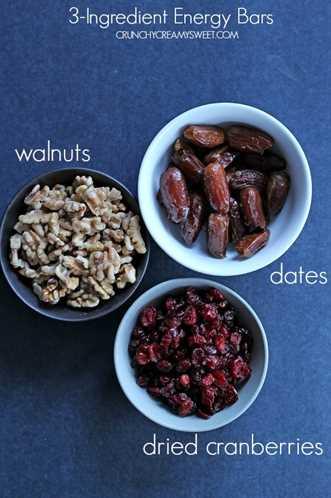Cómo hacer barritas energéticas con 3 ingredientes Cranberry Walnut Energy Bars (Receta de 3 ingredientes)