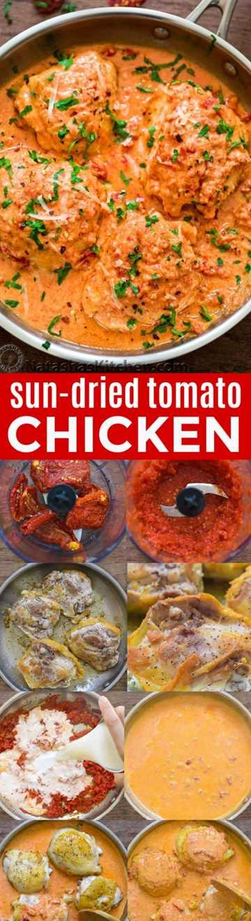 Este pollo sazonado al sol con tomate en una sartén es rápido, fácil y se mezcla con una increíblemente cremosa y deliciosa salsa de tomate secada al sol + aprende sobre cómo cocinar con tomates secados al sol | natashaskitchen.com