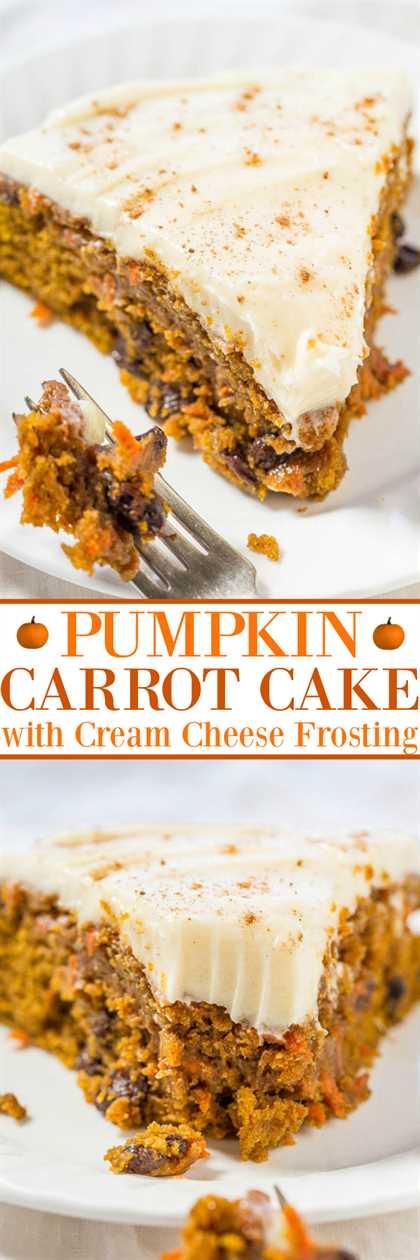 El mejor pastel de calabaza y zanahoria con glaseado de queso crema: ¡una combinación de pastel de calabaza y pastel de zanahoria en un pastel suave, húmedo, tierno e increíble! ¡El glaseado picante de queso crema es realmente la guinda de este pastel fácil!