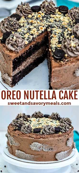 El pastel Oreo Nutella está lleno de chispas de chocolate, avellanas tostadas, crema de mantequilla Oreo y Nutella #oreo #nutella #cakerecipes #sweetandsavorymeals #cakes