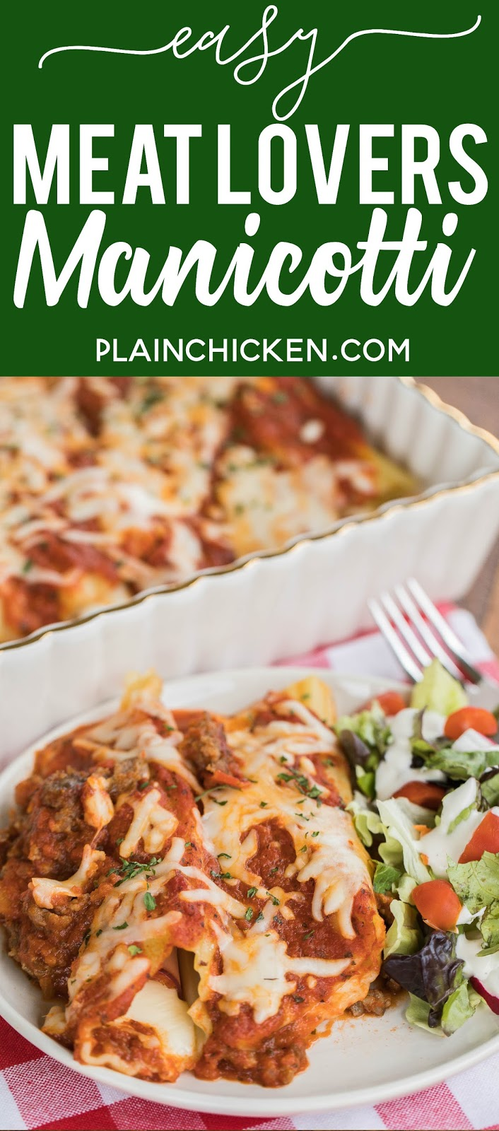 Easy meat lover's manicotti recipe: Manicotti stuffed with cheese, ham, and pepperoni and baked in a quick meat sauce. Super easy and DELICIOUS stuffed pasta casserole. Use string cheese to easily fill cooked manicotti noodles. It can be brought forward and refrigerated or frozen for later. All you need is a salad and some garlic bread for a quick weekday meal! # casserole # manicotti # pastacasero #cooked #freezermeal #makeaheadmeal