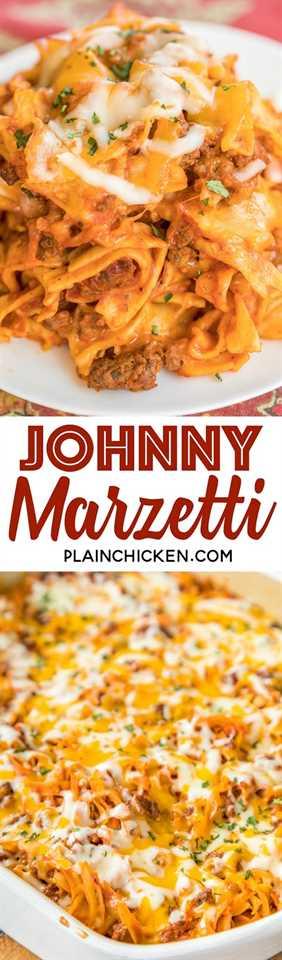 Receta de cazuela Johnny Marzetti: ¡una cazuela de pasta clásica que complacerá a toda la familia! Carne molida, cebolla, sopa de tomate, salsa de tomate, pasta de tomate, fideos de huevo, queso cheddar y mozzarella. ¡Puede avanzar y refrigerar o congelar para más tarde! ¡Una cazuela clásica que es comida casera perfecta que puede alimentar a una multitud! ¡Todos limpian su plato! ¡Qué comida tan fácil entre semana!