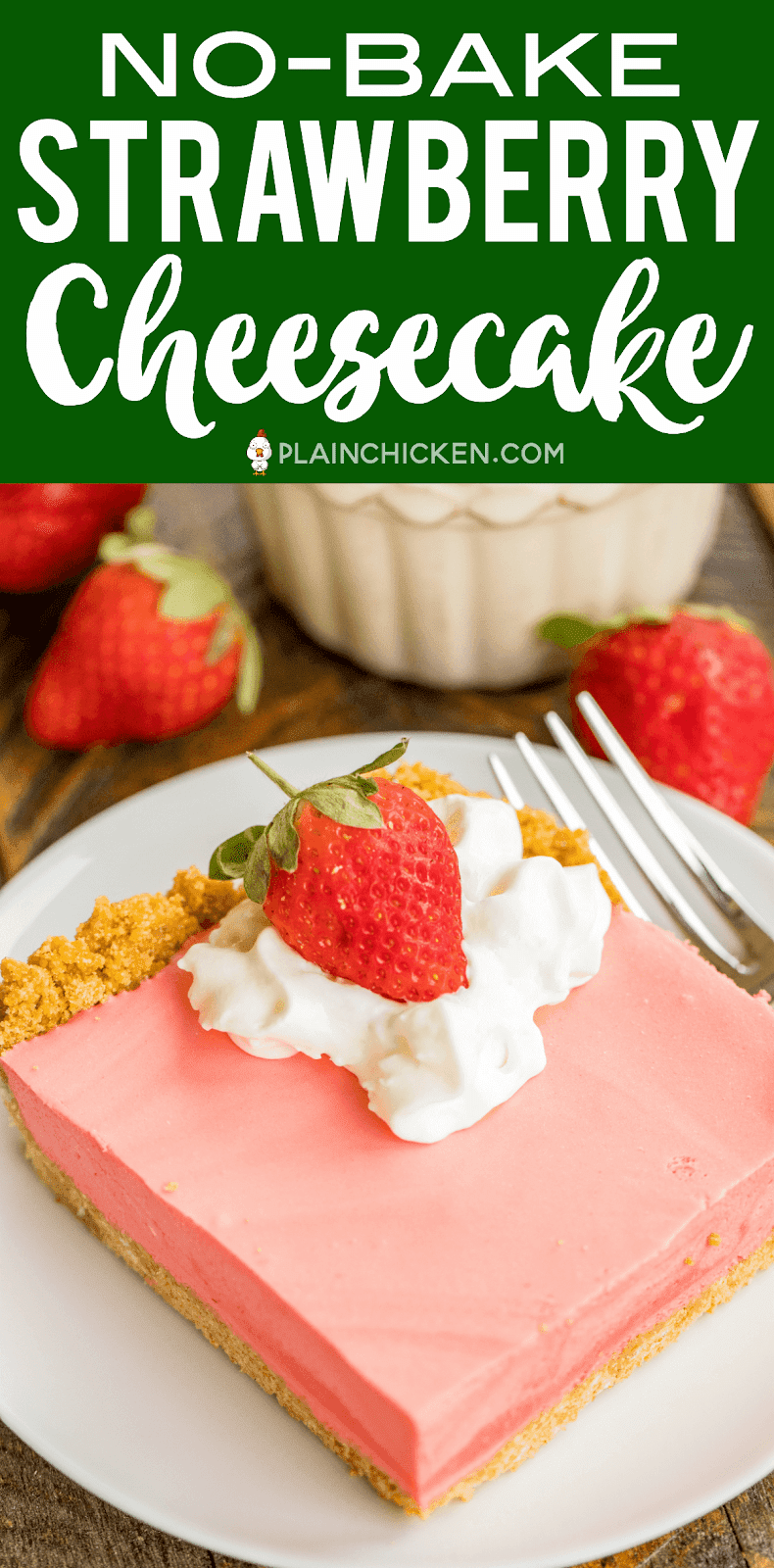 Unbaked Strawberry Cheesecake Recipe - Graham Cracker Crust, Fluffy Light Baked Cheesecake - SO good. Seriously, THE BEST unbaked cheesecake! Great with whipped cream and fresh strawberries. Strawberry jelly, boiling water, strawberry juice, cream cheese, sugar, vanilla, evaporated milk, graham cracker crumbs, butter. Seriously delicious! Great dessert recipe for a crowd! #cheesecake #nobakedessert #dessert