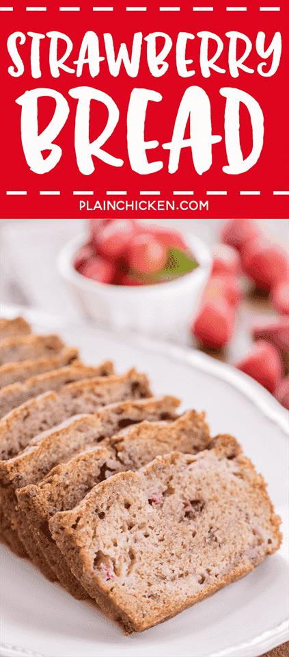 Strawberry Bread: una forma maravillosa de usar todas esas deliciosas fresas de verano. Listo para el horno en minutos! Harina, azúcar, bicarbonato de sodio, sal, canela, huevos, aceite y fresas. ¡Se congela bien también!