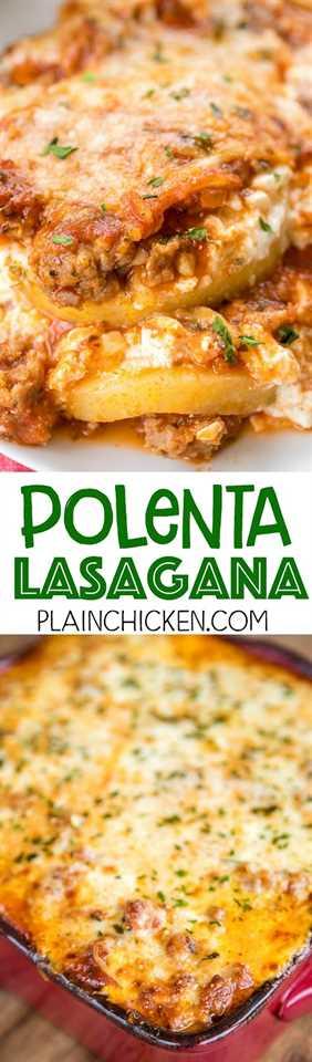 Lasaña de polenta: ¡deshazte de los fideos por rebanadas de polenta! En serio delicioso! Salchicha italiana, salsa marinara, polenta, requesón, huevo, mozzarella y queso parmesano. Puede ensamblar la cacerola con anticipación y refrigerar o congelar para más tarde. ¡A todos les ENCANTÓ esta receta fácil de cazuela entre semana!