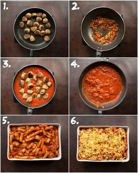 Cómo hacer horneado de pasta con albóndigas - 6 fotos paso a paso