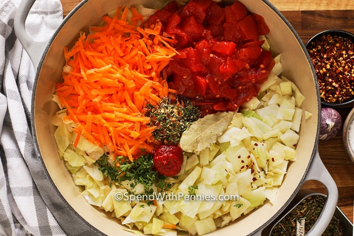 Overhead image of the ingredients for the cabbage soup.