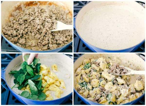 El proceso de hacer tortellini de salchicha en una sartén. Primero, cocine la salchicha molida, luego prepare una salsa cremosa y agregue tortellini, espinacas y salchichas, luego mezcle en una sartén.