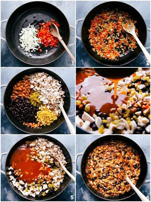 Procese tomas: imágenes del relleno de la cacerola que se mezclan y se hacen
