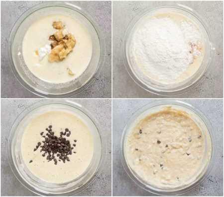 Un collage sobre cómo hacer masa de pan de plátano.