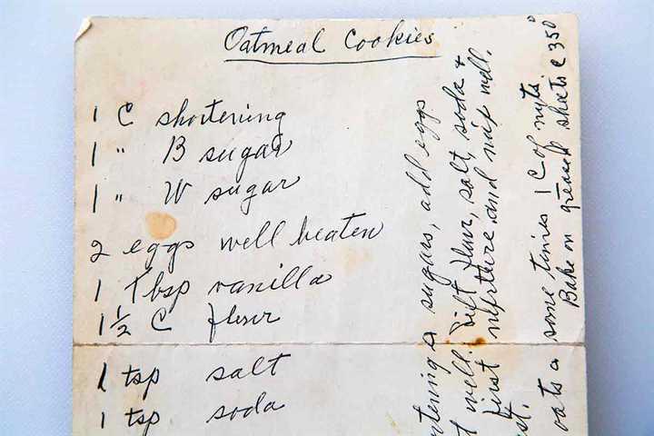 tarjeta de receta manuscrita para galletas de avena