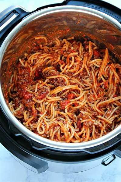la mejor receta de Spaghetti Instant Pot Spaghetti