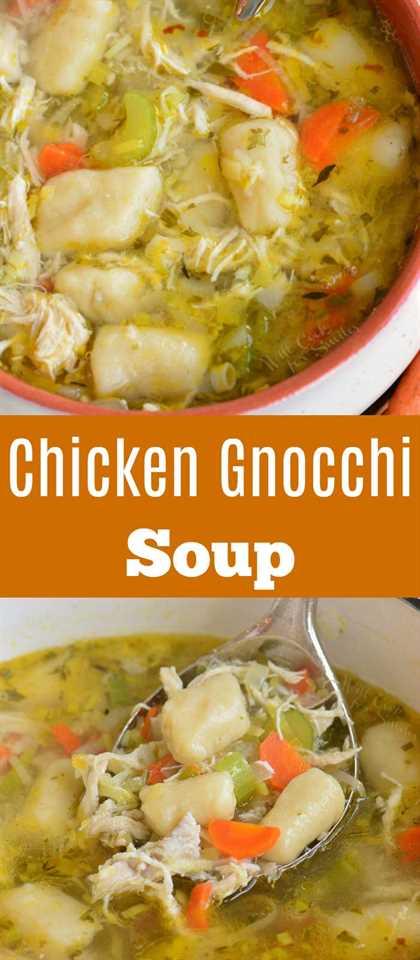 sopa de ñoquis de pollo largo collage