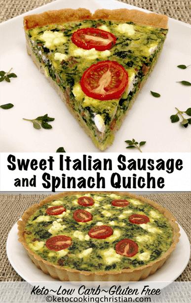 Salchicha italiana dulce y quiche de espinacas - Keto, bajo en carbohidratos y sin gluten