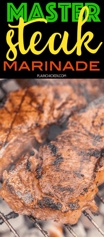 Master Steak Marinade - ¡mejor que cualquier restaurante especializado en carnes! ¡Algunos ingredientes simples que le dan mucho sabor a tu bistec! Puede preparar la marinada por delante y refrigerar para más tarde. ¡Perfecto para asar filetes para una multitud! Vinagre de vino tinto, salsa de chile, aceite, salsa de soja, Worcestershire, mostaza seca, sal, pimienta y ajo. En serio delicioso !!!